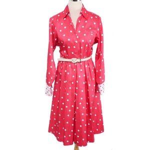 Vtg Petites by Willi Pink & White Polka Dot Dress
